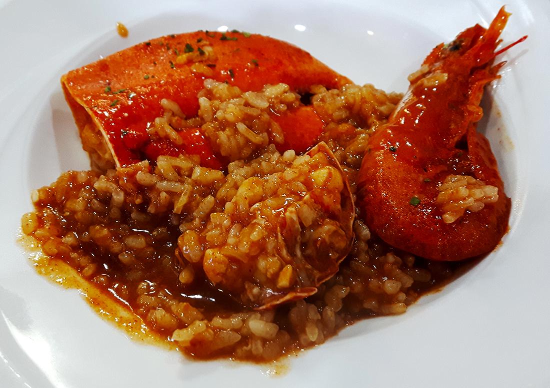 El arroz caldoso de marisco en Rinlo. Impresionante.