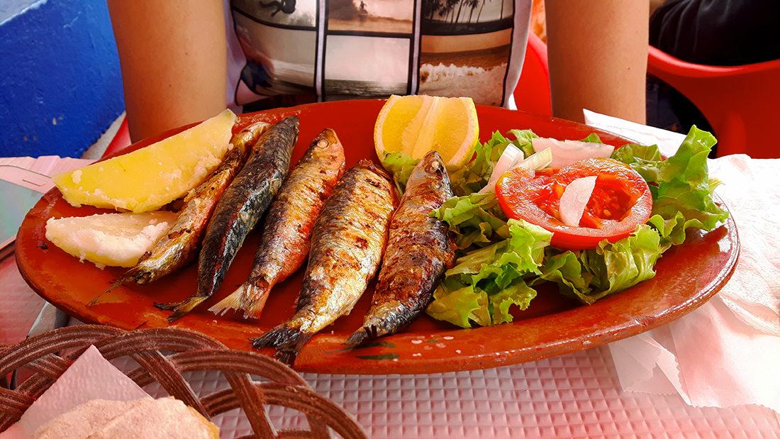 Muy buenos peixes en la taberna de Jou