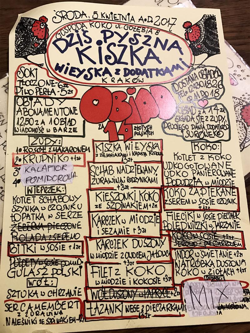 Carta del Gospoda Koko en Cracovia