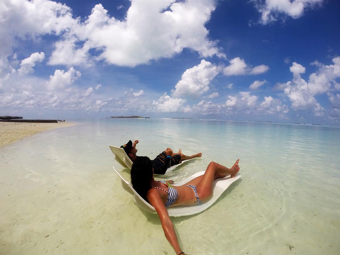 Laguna del resort Hudhuranfushi, Maldivas