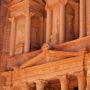 Detalle de la fachada del Tesoro en Petra