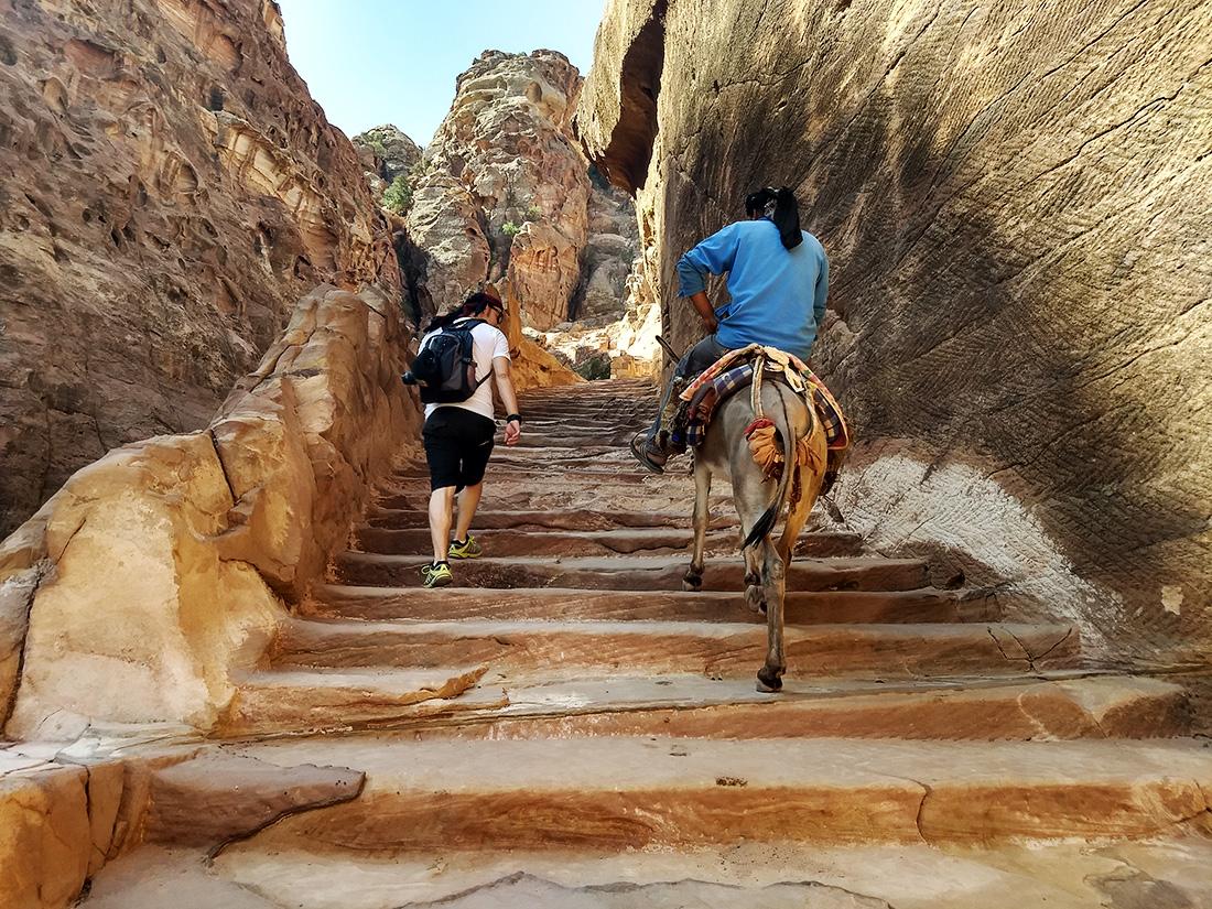 escaleras de acceso al mirador del Tesoro Petra