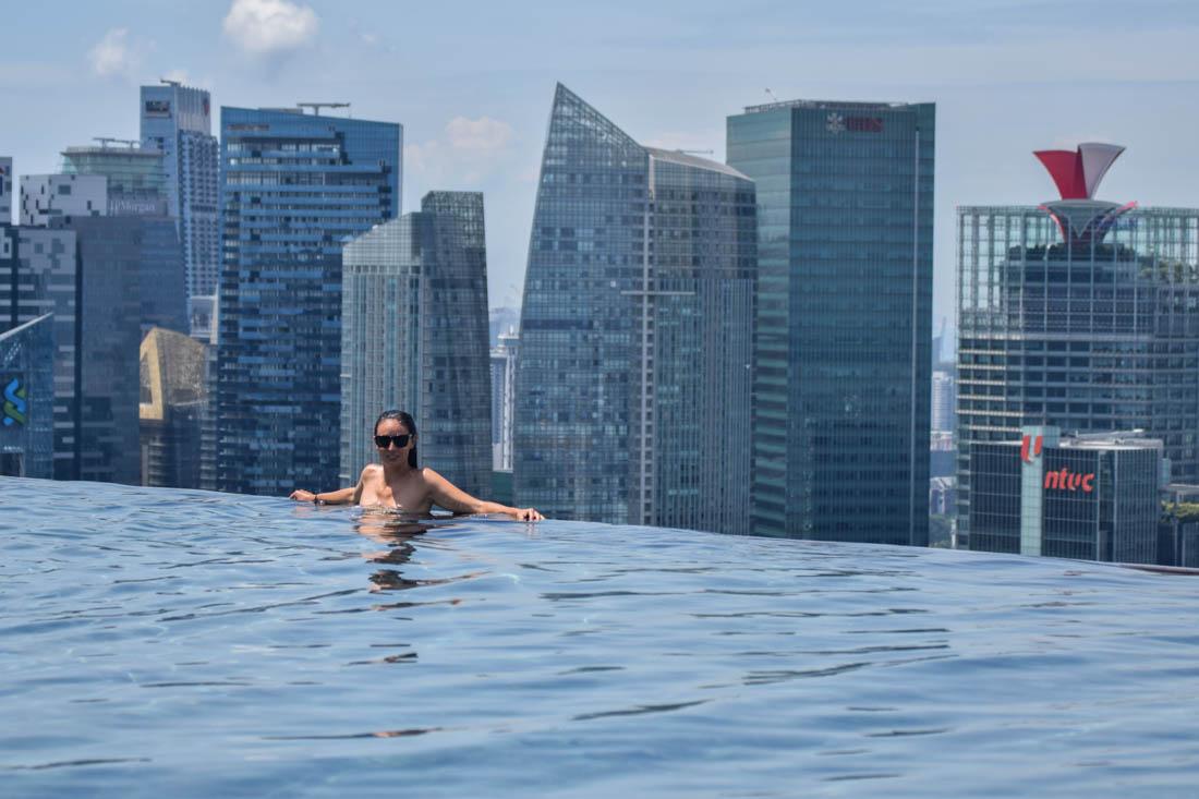 Animales Viajeros en la piscina del Marina Bay Sands