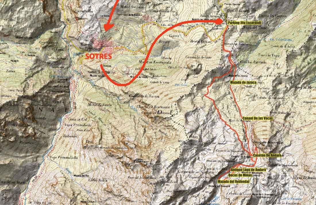 Plano de la ruta Sotres