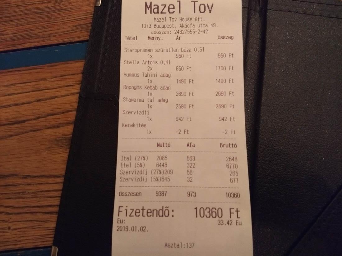 Precios en Mazel Tov