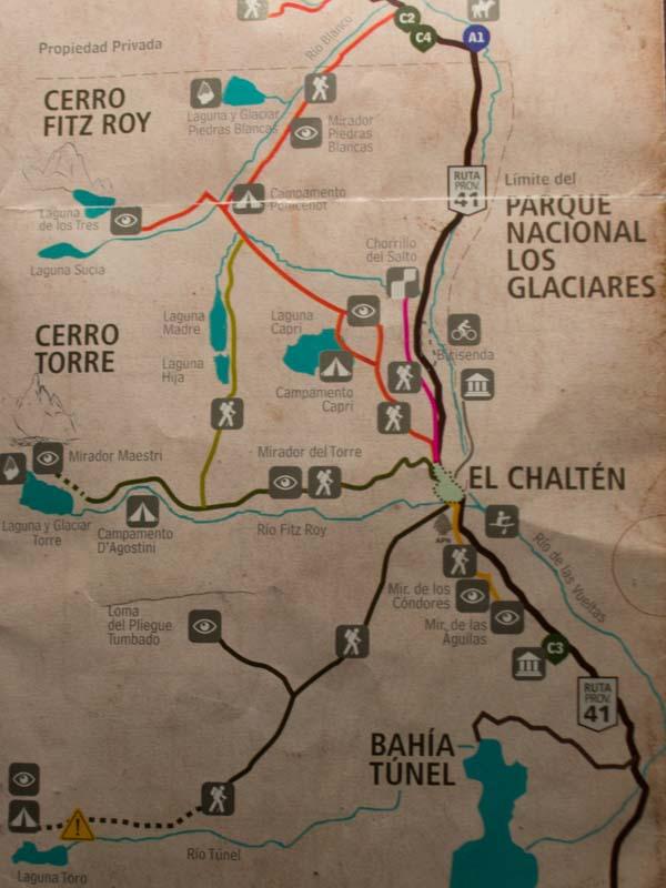 Mapa de senderos en El Chalten