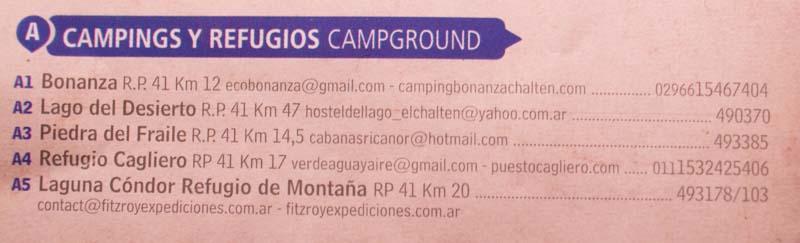 Campings y refugios en El Chalten
