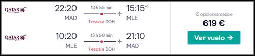 Búsqueda vuelo Madrid Maldivas Qatar
