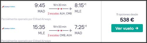 Precio mínimo vuelo Maldivas