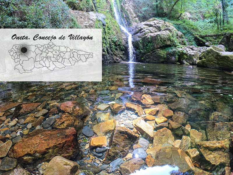 Mapa Asturias con las cascadas de Oneta