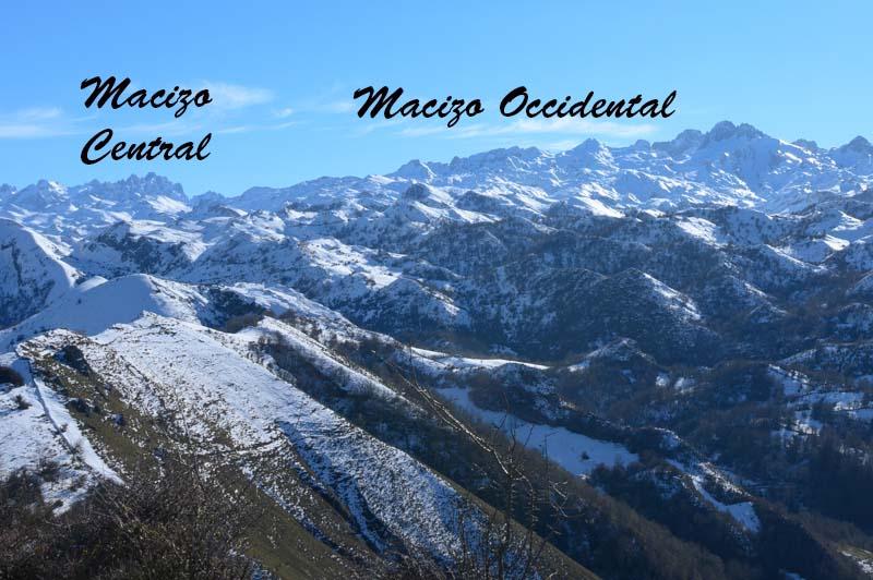 Macizos de Picos de Europa vistos desde Cruz de Priena en Covadonga