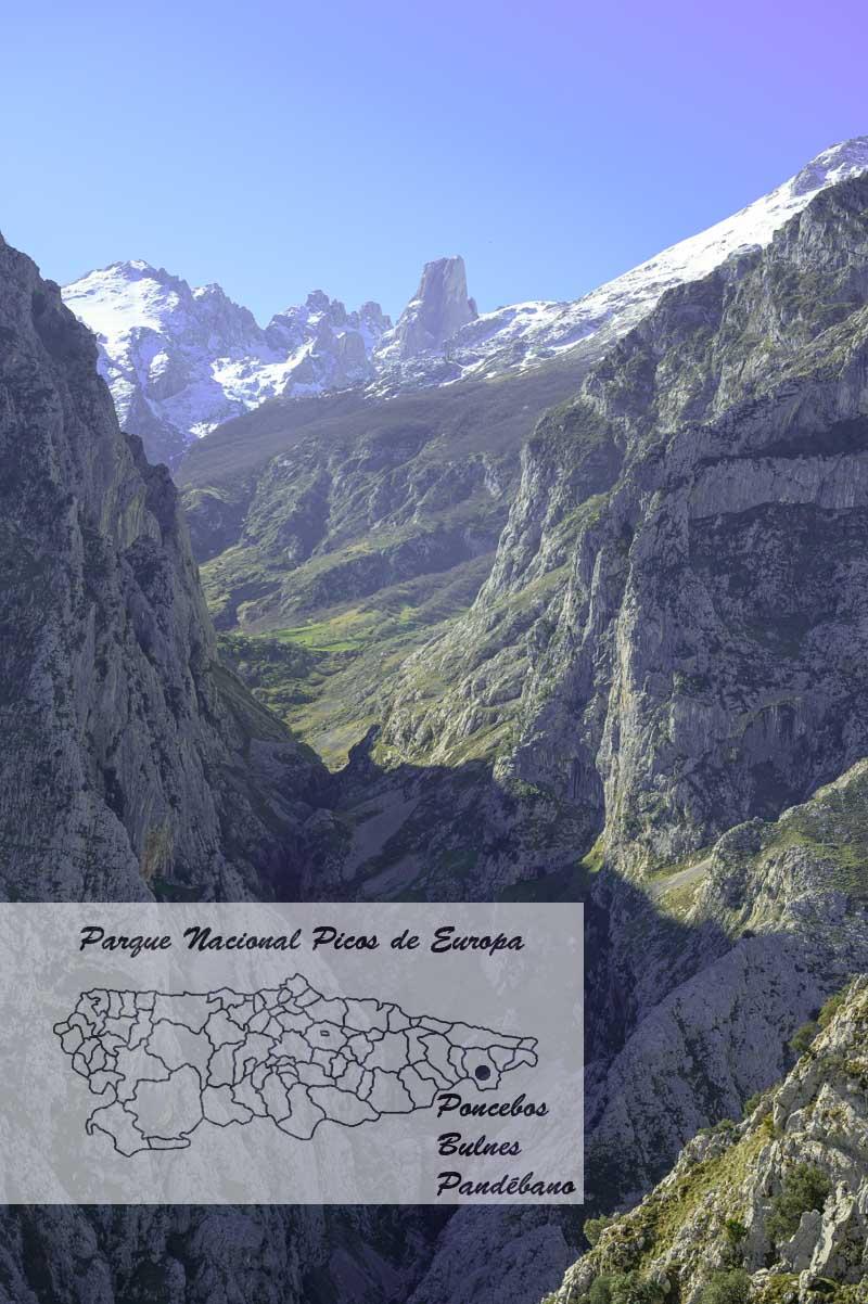 Bulnes y Poncebos en el mapa de Asturias