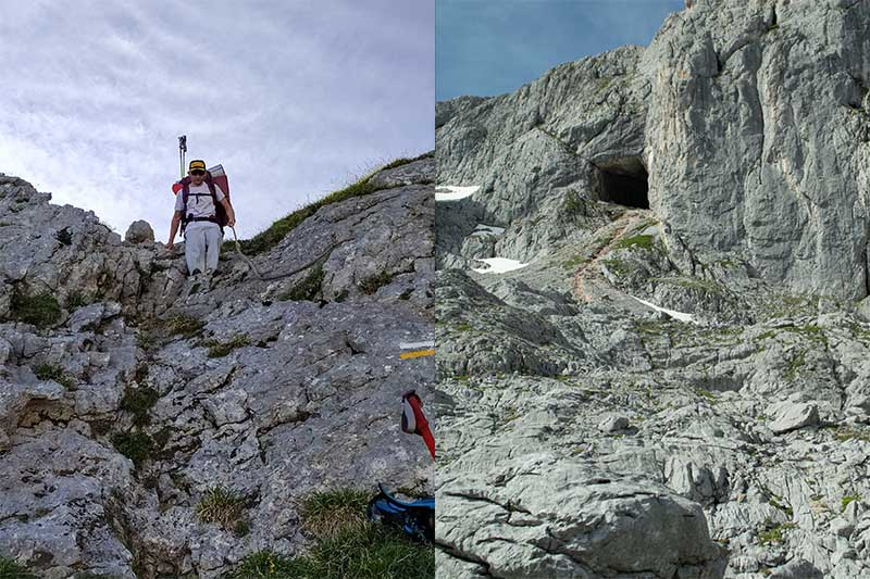 Paso con cuerda cerca de Jou de los Cabrones y Cueva del Trave