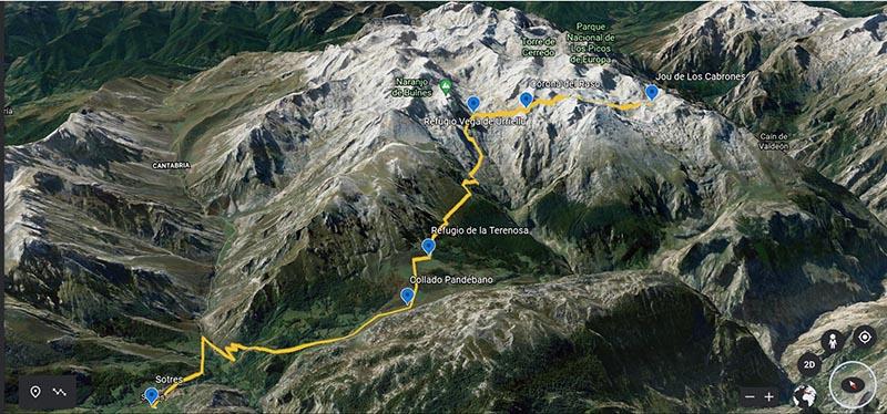 Imagen de Google Earth ruta Sotres a Refugio Jou de los Cabrones