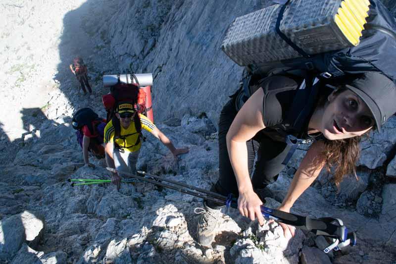 Trepada para llegar a la Horcada Arenera, Picos de Europa