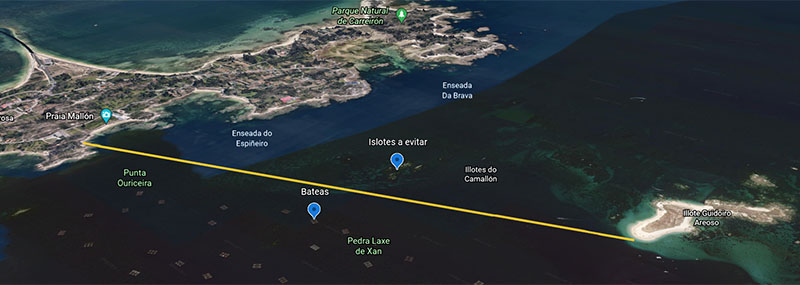 Ruta Google Earth de praia Mallón a islote de Areoso, Arosa, Galicia